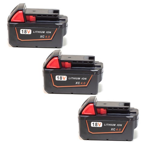 Replacement 4000mAh Battery for Milwaukee 48-11-1840 / M18 XC Model (3 Pk)