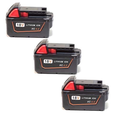Replacement Battery For Milwaukee M18 XC Power Tools - 48-11-1840 (4000mAh, 18V, Li-Ion) - 3 Pack