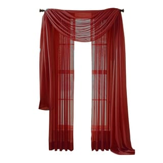 "Moshells 90"" Sheer Curtain Panel -  Red"