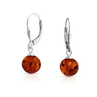 Simple Honey Amber Round Leverback Drop Ball Earrings For Women 925 Sterling Silver 8MM