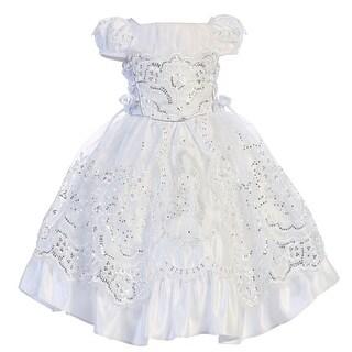 Angels Garment Little Girls White Satin Embroidered Baptism Dress - 2/3t