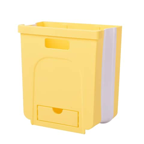 Shop LC Yellow 10L Foldable Hanging Waste Bin Easy To Place Dustbin - 10.24x9.45x3.94 inches