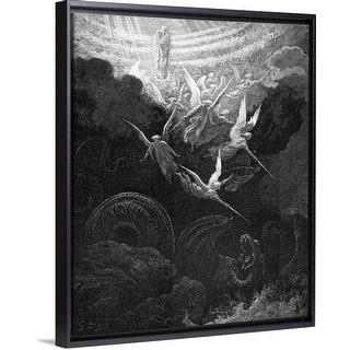 """Archangel Michael fighting the dragon"" Black Float Frame Canvas Art"