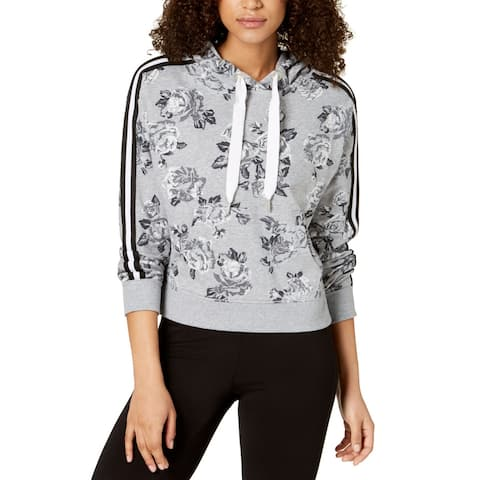 Calvin Klein Performance Women's Rose Spray Print Boxy Hooded Pullover (Grey, M)