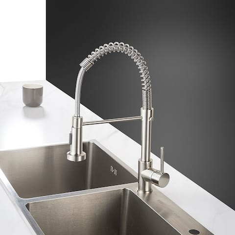 Residential Brushed Finish Copper Spring Kitchen Faucet - 7.8*3.9*16.1