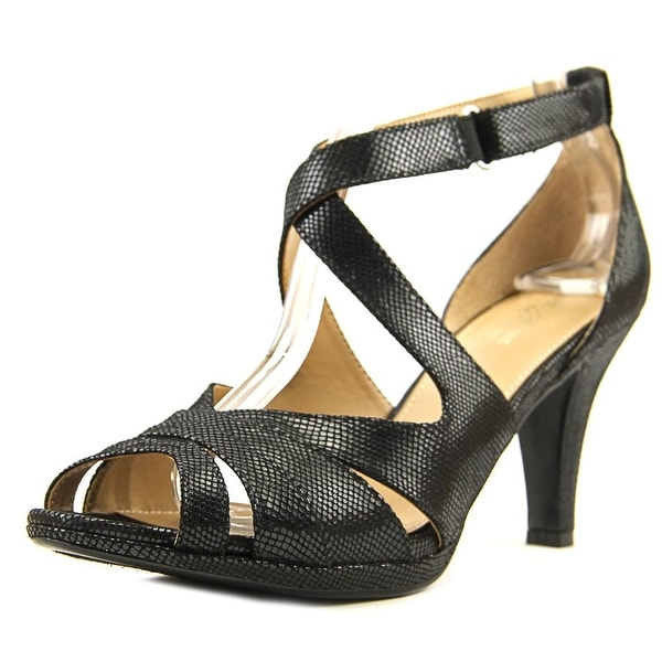 Naturalizer Imperial Women Open Toe Leather Black Sandals