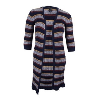 Style & Co. Women's. Plus Size Striped Open-Front Duster Cardigan - indigo blue combo