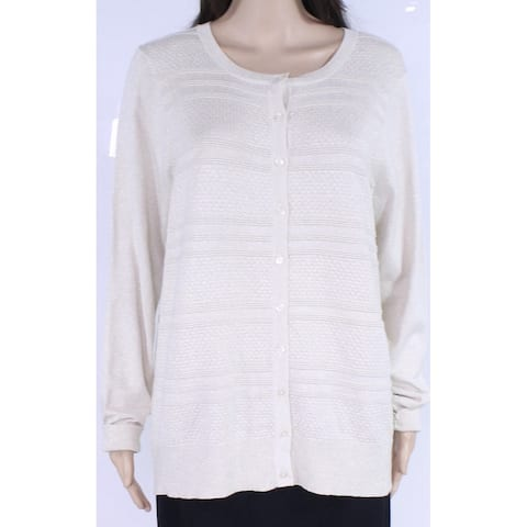 Charter Club Women's Sweater White Ivory Size 3X Plus Cardigan Shimmer