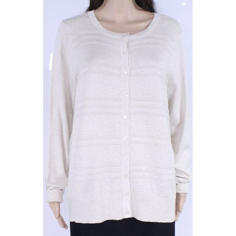 Charter Club Womens Sweater Beige Size 1X Plus Cardigan Button Front