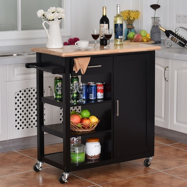 Mobile Kitchen Island Cart Wood Cabinet Storage Portable: Costway 4-Tier Rolling Wood Kitchen Trolley Cart Island
