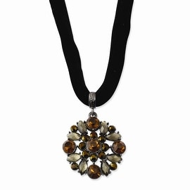 Black IP Multicolored Glass & Acrylic Beads Necklace - 16in