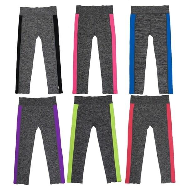 Women 6 Pack Space Dye Neon Stipes Athletic Sports Full-Length Leggings