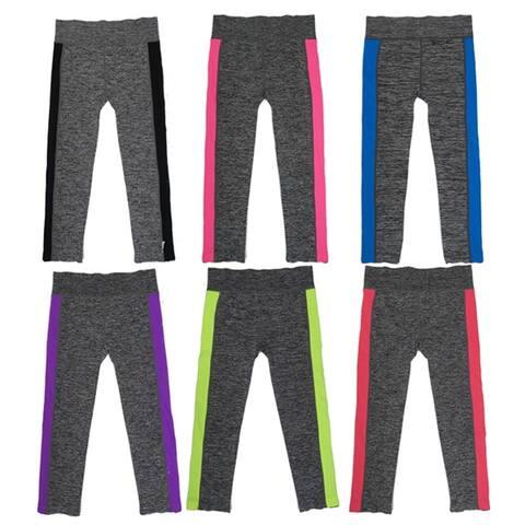 Women's Capris Sports Leggings w/Side Accent Colors (6 Pack) Free Size