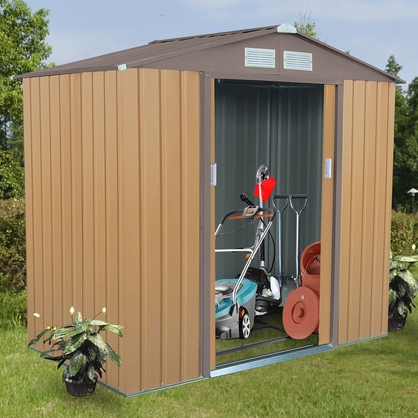 Costway 7u0026#x27; X 4u0026#x27; Outdoor Garden Storage Shed Tool House