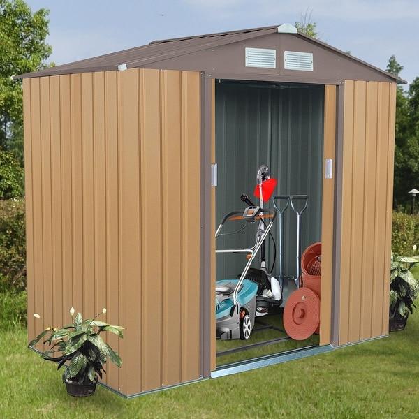 Shop Costway 7' X 4' Outdoor Garden Storage Shed Tool