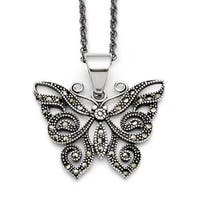 Chisel Stainless Steel Butterfly Marcasite Necklace (2 mm) - 20 in