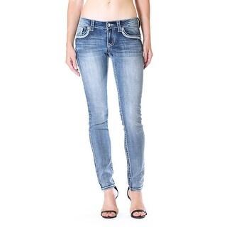 Charme Denim Jeans Womens Skinny Fading Med Wash