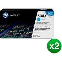 HP 504A Cyan Original LaserJet Toner Cartridge (CE251A)(2-Pack)
