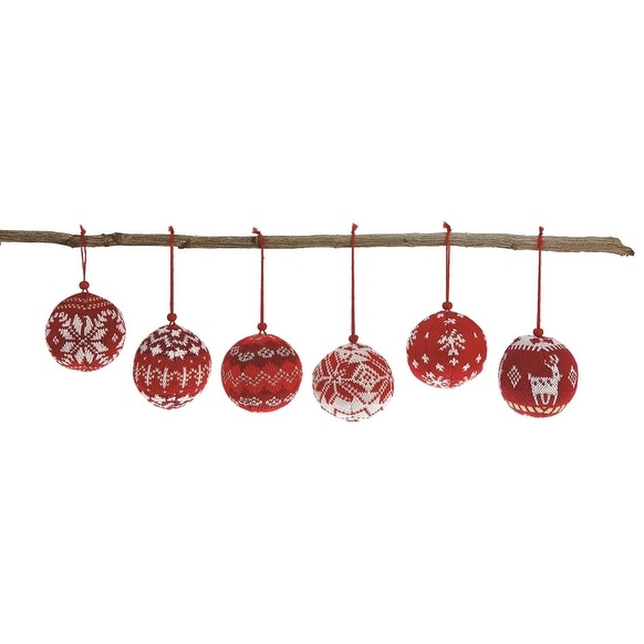 """Pack of 12 Red and White Shatterproof Knit Sweater Christmas Ball Ornaments 3"""""""