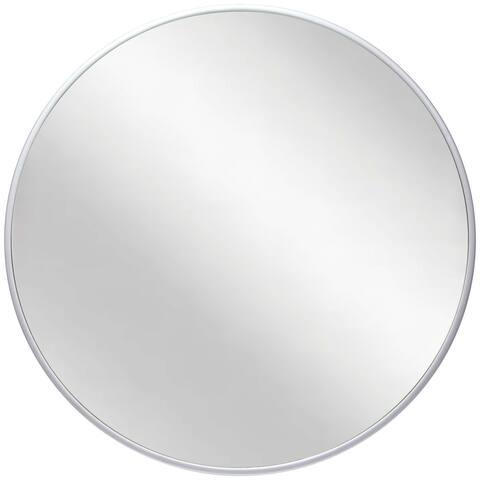 Plata 21 inch Round Matte Silver Hanging Wall Mirror