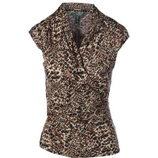Lauren Ralph Lauren Womens Printed Surplice Pullover Top - XS
