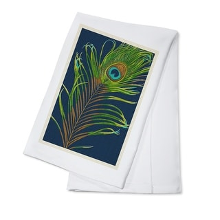 Peacock Feather - Letterpress - Lantern Press Artwork (100% Cotton Towel Absorbent)