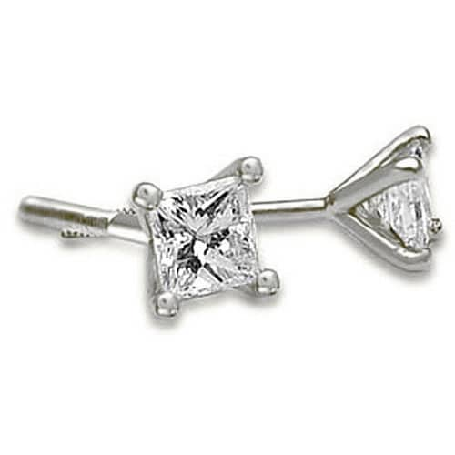 0.25 cttw. 14K White Gold Princess Cut Diamond 4-Prong Stud Earrings