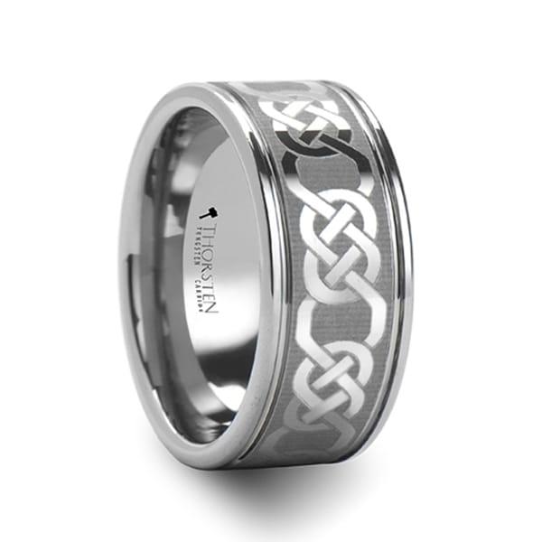 THORSTEN - PALATINE Celtic Pattern Laser Engraved Tungsten Wedding Band - 10mm