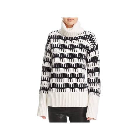 Theory Womens Wyndora J. Charmant Pullover Sweater Wool Blend Pattern