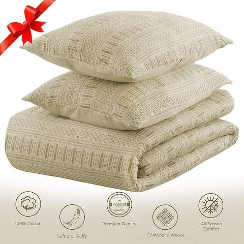 EnvioHome 3 Piece Washed Textured Cotton Duvet Cover Set