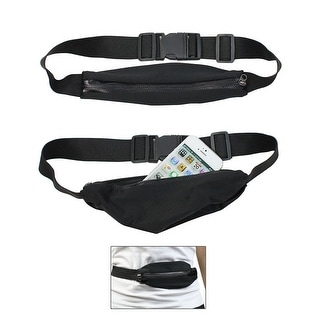 Outdoor Expanding Fitness, Sports, Running, Hiking Waist Pack Belt - black / green zipper