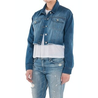 Ei8ght Dreams NEW Blue Womens Size XS Cropped Button-Down Denim Jacket