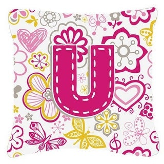 Shop Letter U Flowers And Butterflies Pink Canvas Fabric Decorative