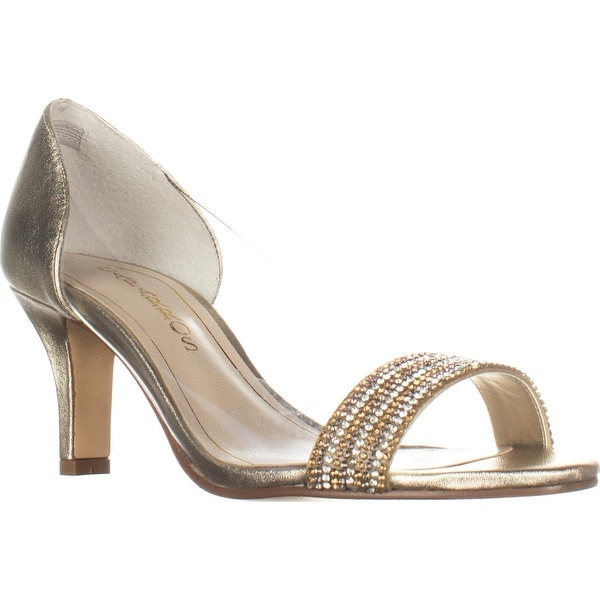 Caparros Fancy Peep-Toe Embellished Evening Pumps, Platino Metallic