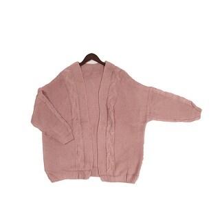 Pink Long Sleeve Knit Cardigan