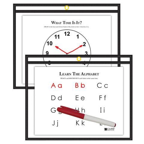 C-line c line 9x12 blk reusable dry erase 40711