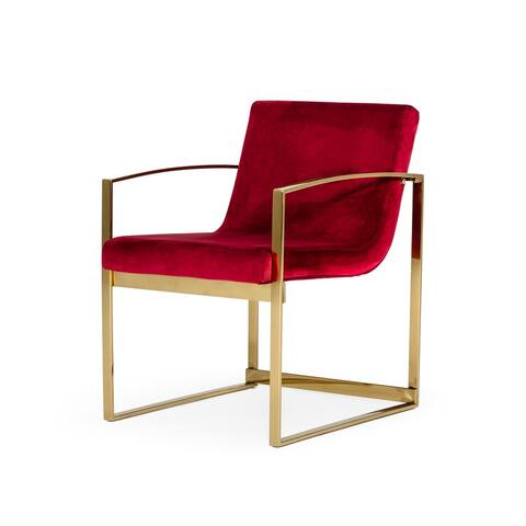 Modrest Defoe Modern Red Velvet Accent Chair