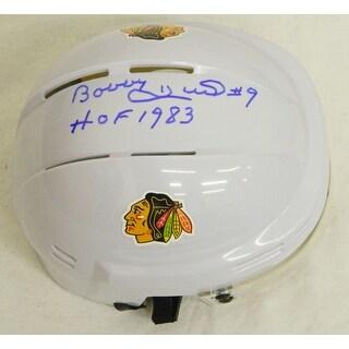 Bobby Hull signed Blackhawks White Hockey Mini Helmet wHOF 1983