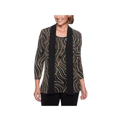 Alfred Dunner Womens Pullover Top Layered Metallic