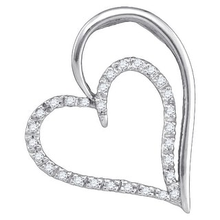 Heart Pendant 10K White-gold With Diamonds 0.16 Ctw By MidwestJewellery - White