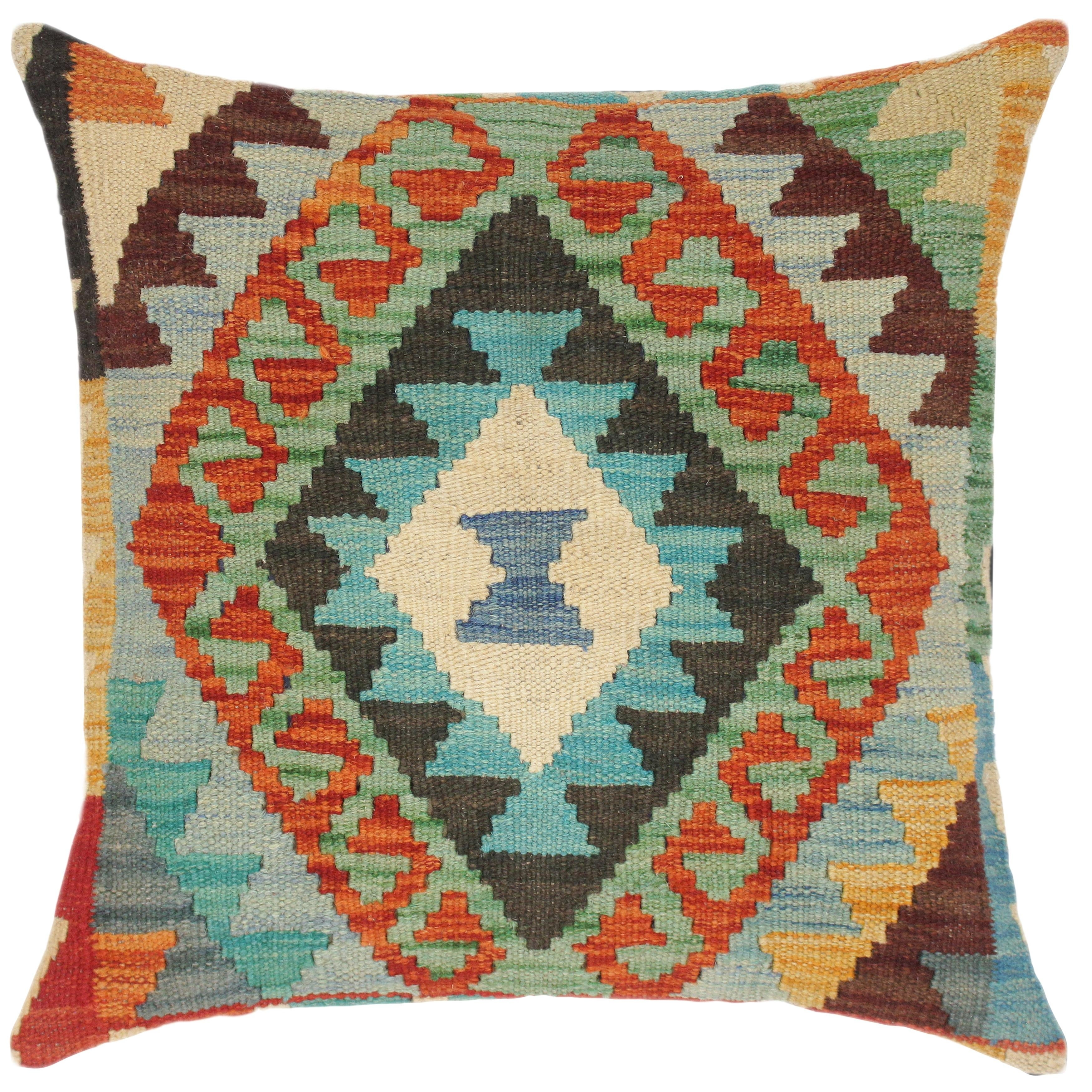 Southwestern Benito Hand Woven Turkish Kilim Pillow 18 In X 18 In Overstock 32524891