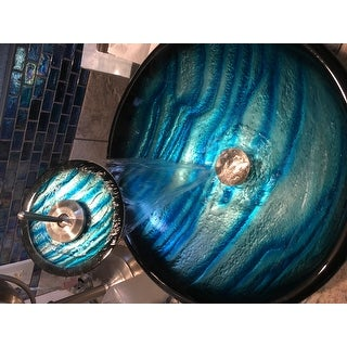 Kraus 4-in-1 Bathroom Set C-GV-399-19mm-10 Ladon Glass Vessel Sink, Waterfall Faucet, Pop Up Drain, Mounting Ring