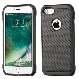 Insten Black Carbon Fiber Hard PC/ Silicone Dual Layer Hybrid Rubberized Matte Case Cover For Apple iPhone 7