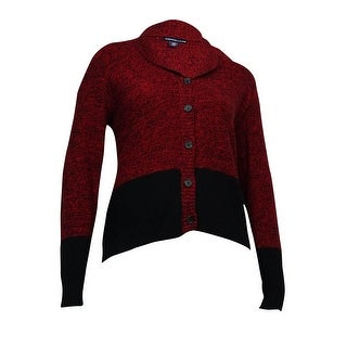 American Living Women's Marled Colorblocked Cardigan - Black/Red - xL