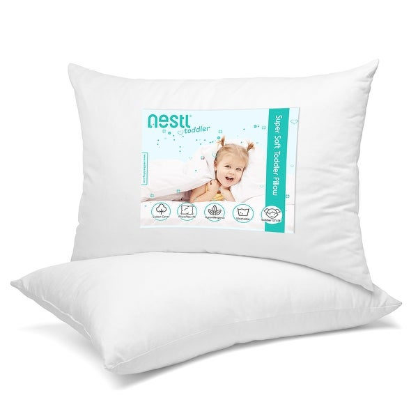 Nestl Bedding 100% Organic Cotton Cover Toddler Pillow - White. Opens flyout.