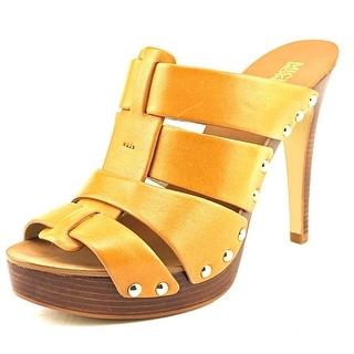 Michael Michael Kors Somerly Mule Women Peep-Toe Leather Tan Mules