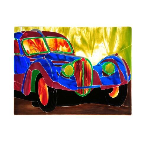 """Meyda Tiffany 107844 18"""" W X 13.75"""" H Bugatti Atlantic Fused Glass Window - blue pink amber - n/a"""