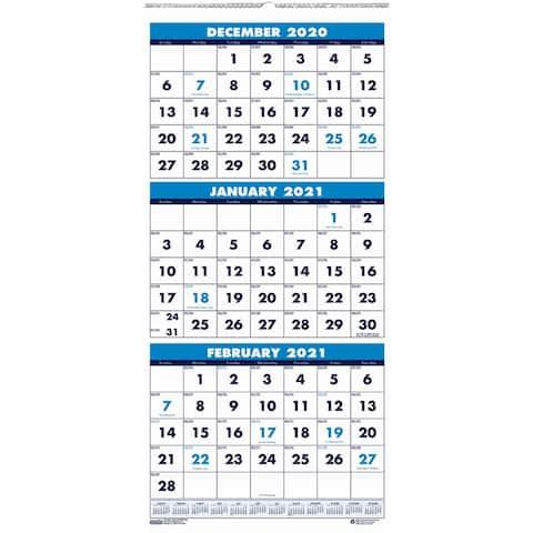 House of Doolittle Three-month Vertical Wall Calendar - Blue