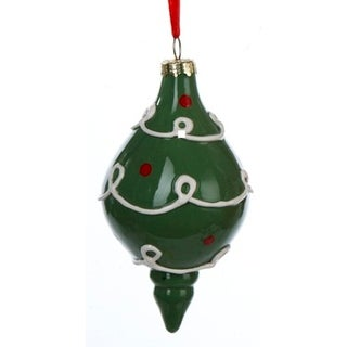 """3.5"""" Scroll and Polka Dot Decorated Green Ceramic Drop Christmas Ornament"""