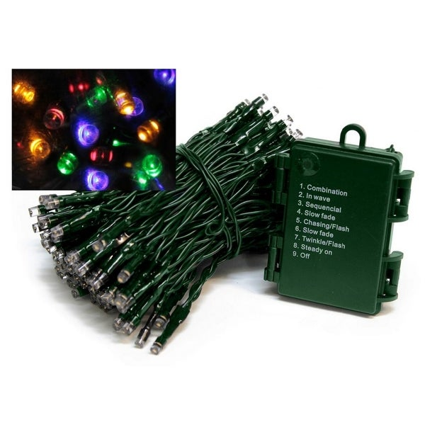 Set of 576 Battery Operated Multi-Function Multi-Color LED Wide Angle Christmas Lights - Green Wire - multi